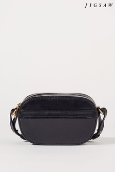 Jigsaw Black Otto Micro Leather Cross Body Bag