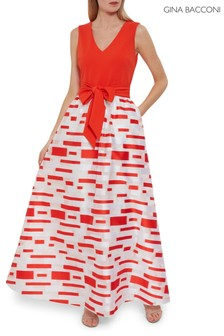 Gina Bacconi Red Pari Crepe And Organza Maxi Dress