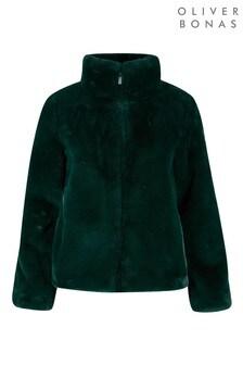 Oliver Bonas Ink Green Faux Fur Coat
