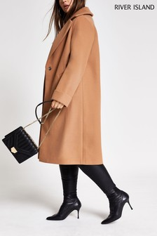 River Island Curve Camel Wool Coat