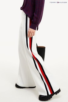 Tommy Hilfiger White Side Stripe Wide Leg Trousers