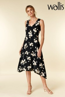 Wallis Black Daisy V-Neck Hanky Hem Dress