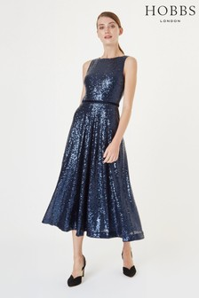 Hobbs Blue Carly Sequin Dress