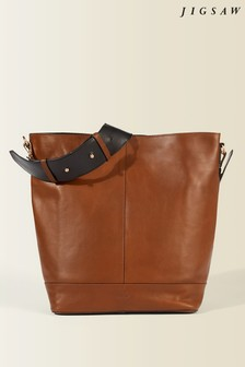 Jigsaw Tan Karel Leather Hobo Bag