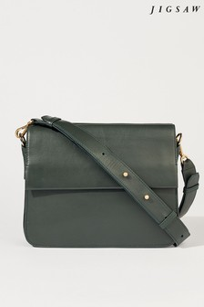 Jigsaw Bottle Green Lottie Leather Cross Body Bag