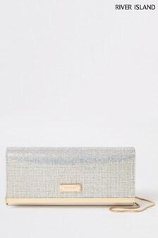 River Island Silver Heatseal Baguette Clutch Bag