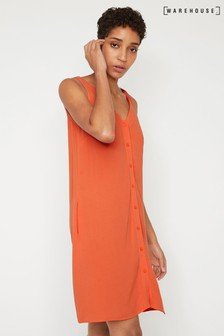 Warehouse Orange Button Through V-Neck Dress