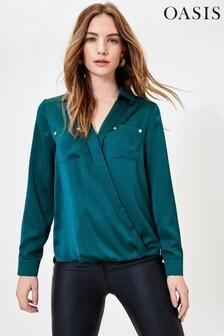 Oasis Wickelhemd aus Satin, Grün