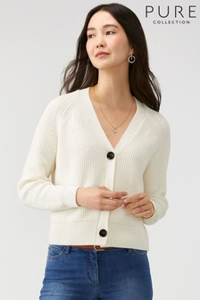 Pure Collection White Ribbed Relaxed V-Neck Cardigan