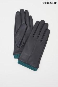 White Stuff Navy Wool Cuff Leather Gloves