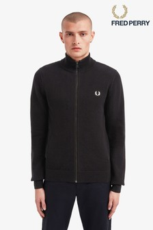 Fred Perry Texture Zip Through Knit Jumper