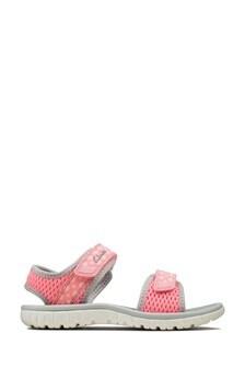 Clarks Pink Combi Surfing Tide K Sandals