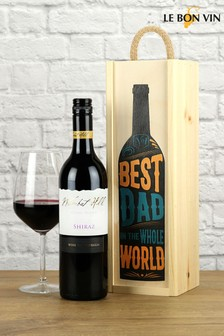 Best Dad in the World Shiraz Wood Box Wine Gift Set by LeBonVin