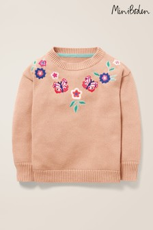 Boden Pink Embroidered Yoke Jumper