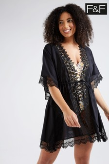 F&F Black Lace Special Tie Front Cover-Up