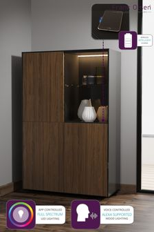 Frank Olsen Smart LED Black and Walnut Display Cabinet