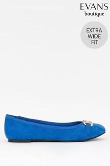 Evans Extra Wide Fit Blue Metal Trim Ballerina Pumps