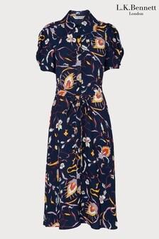 L.K.Bennett Blue Bonham Floral Crepe Dress