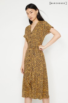 Warehouse Yellow Animal Button Midi Dress