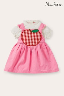 Boden Pink Apple Pinnie And Top Set