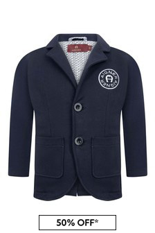 Boys Navy Cotton Logo Jacket