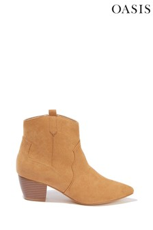 Oasis Tan Snake Heeled Boots