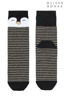 Oliver Bonas Black Penguin Glitter Beak Striped Socks