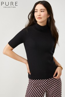 Pure Collection Black Ribbed Roll Neck T-Shirt
