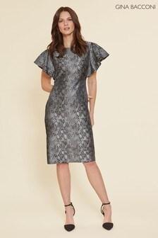 Gina Bacconi Black Joslyn Snake Jacquard Dress