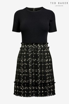 Ted Baker Black Bouclé Dress