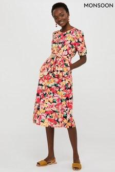 Monsoon Blue Verna Print Organic Cotton Dress