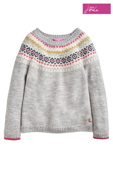 Joules Grey Orkney Fairisle Pattern Jumper