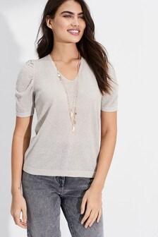 Ruffle Sleeve Metallic T-Shirt