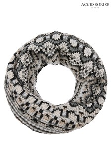 Accessorize Black Mono Fairisle Pattern Snood
