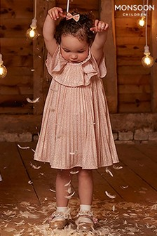 Monsoon Children Pink Baby Ice Guilded Pleat Dress