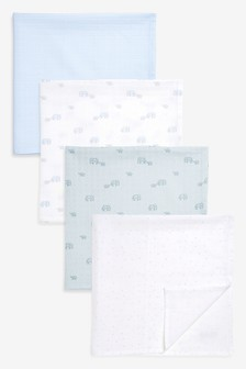 4 Pack Elephant Muslin Squares