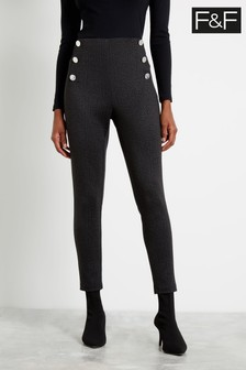 F&F Grey Button Ponte Trousers