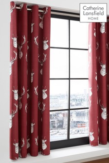 Catherine Lansfield Munro Stag Eyelet Curtains