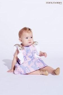 Hucklebones Purple Floral Ruffle Dress And Bloomers