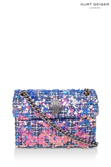 Kurt Geiger London Pink Tweed Mini Kensington X Fabric Bag
