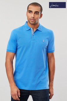 Joules Blue Jersey Polo Plain Poloshirt