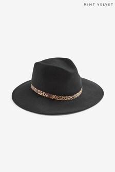 Mint Velvet Black Leopard Fedora Hat