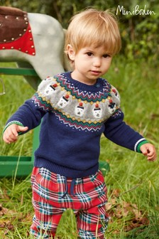 Boden Blue Fairisle Pattern Jumper