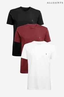 AllSaints Maroon/Black/White T-Shirts Three Pack
