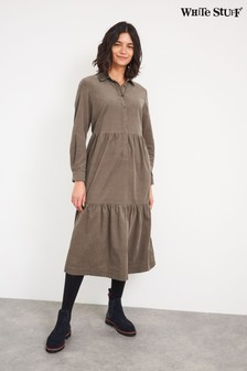 White Stuff Light Brown Florence Cord Shirt Dress