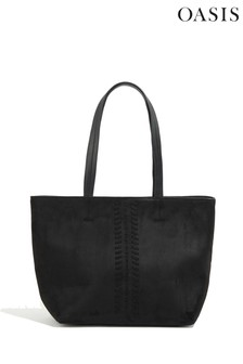 Oasis Black Whipstitch Tote Bag