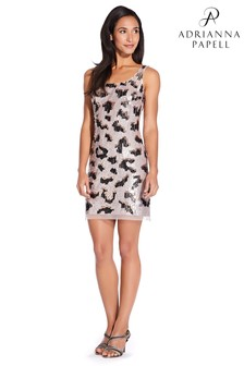 Adrianna Papell Nude Bead Mesh Dress