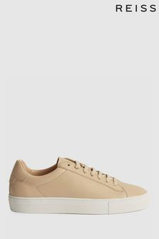 Reiss Brown Finley Perforated Leather Trainers