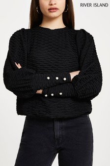 River Island Black Puff Sleeve Textured Top
