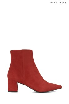 Mint Velvet Olivia Red Low Block Boots